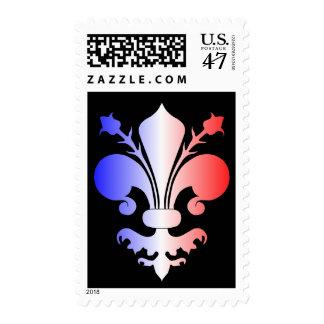 Colores franceses de la bandera de la flor de lis sello postal