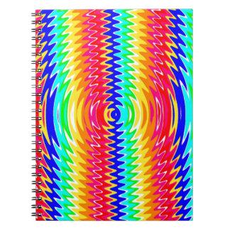 colores fuertes, ondas, ambiente libros de apuntes con espiral