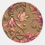 Colores grabados en relieve metálicos del otoño pegatina redonda