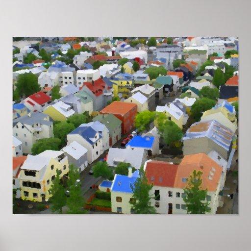 Colores hermosos 14A01C de Reykjavik Póster