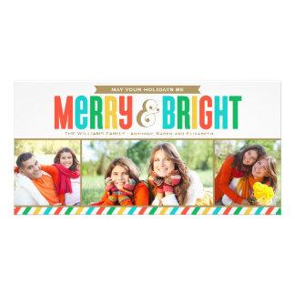 Colores intrépidos felices y brillantes de la tarjeta fotografica personalizada