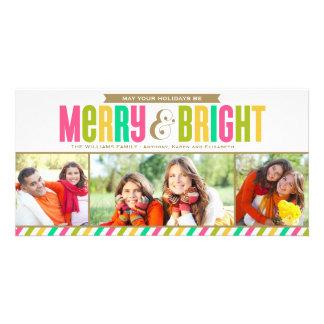 Colores intrépidos felices y brillantes de la tarjeta personal con foto
