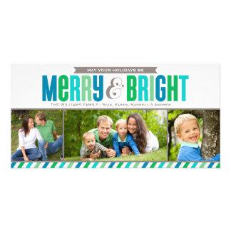 Colores intrépidos felices y brillantes de la tarjetas personales con fotos