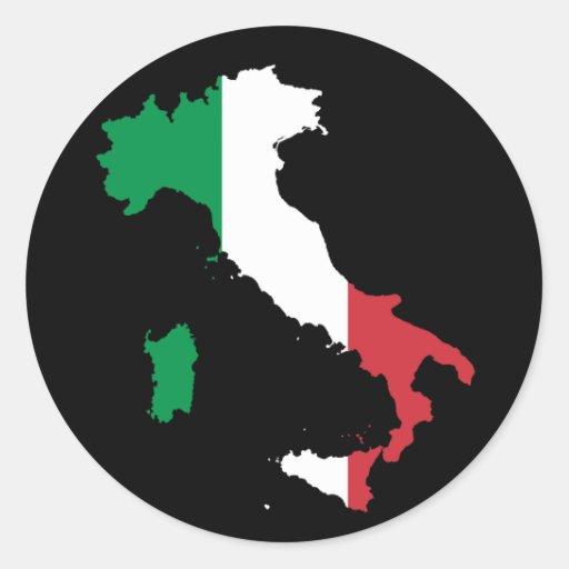 Colores italianos en la bota pegatina redonda