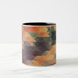 Colores llevados rayas intrépidas geométricas taza de dos tonos