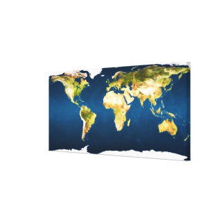 Colores naturales del mapa del mundo por personali impresion de lienzo