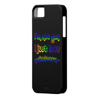 Colores no gay divertidos de los arco iris del funda para iPhone 5 barely there
