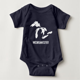 Colores oscuros Michigan divertido del bebé de Poleras