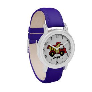 Colores primarios del camión volquete de la relojes de pulsera