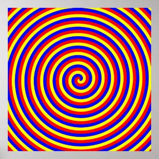 Colores primarios. Espiral brillante y colorido Poster