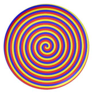 Colores primarios Espiral brillante y colorido Plato Para Fiesta
