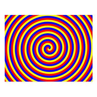 Colores primarios. Espiral brillante y colorido Postales