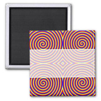 Colores primarios. Espirales brillantes y colorido Imán Cuadrado