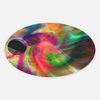 colores radiantes, abstractamente pegatina ovalada