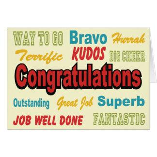 Colores retros de la enhorabuena tarjeta de felicitación