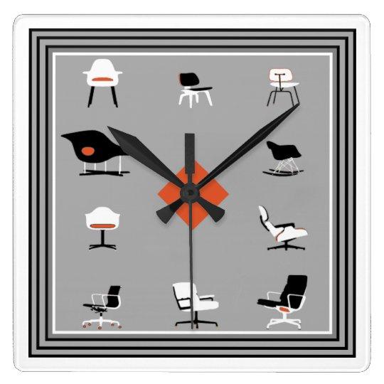 Colores retros de las sillas modernas de los reloj cuadrado