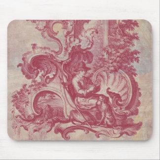 Colores rojos de Toile Pompeya del vintage francés Alfombrillas De Raton