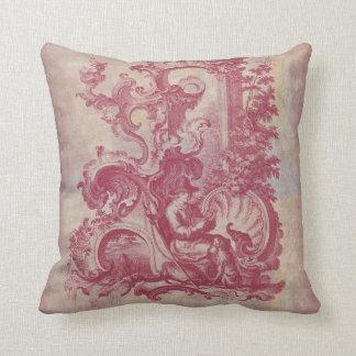 Colores rojos de Toile Pompeya del vintage francés Cojín