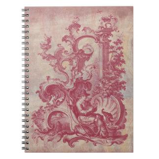 Colores rojos de Toile Pompeya del vintage francés Libro De Apuntes Con Espiral