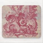 Colores rojos de Toile Pompeya del vintage francés Alfombrilla De Raton