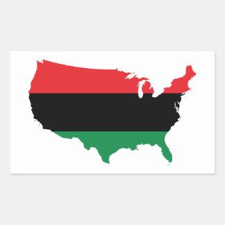 Colores rojos, negros y verdes del _afroamericano pegatina rectangular