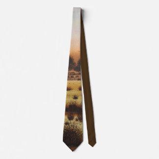 colores rústicos del arbolado y rojos del arte de corbata personalizada
