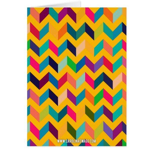 Colores salvajes del zigzag fresco de Chevron Felicitaciones