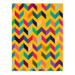 Colores salvajes del zigzag fresco de Chevron Tarjeta Postal