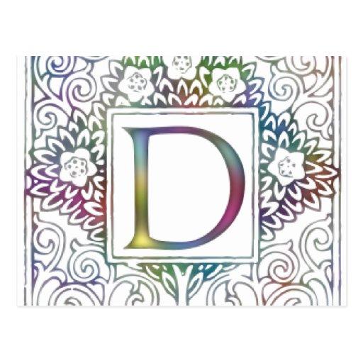 Colores suaves de la d del monograma postal
