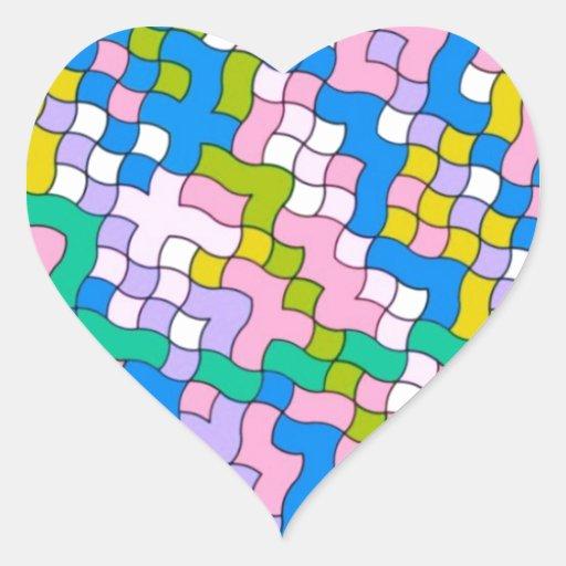 colores suaves del fiesta de la escuela pegatina en forma de corazón