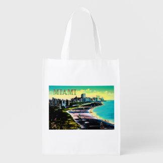 Colores surrealistas de Miami Beach la Florida Bolsas Reutilizables