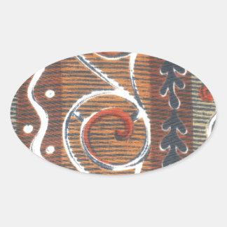 Colores tradicionales del vintage africano colcomanias de oval