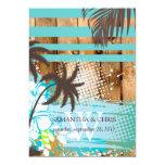 Colores tropicales del grunge/de la playa invitación 12,7 x 17,8 cm