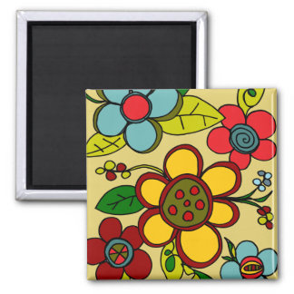Colores urbanos de las flores retras imanes para frigoríficos