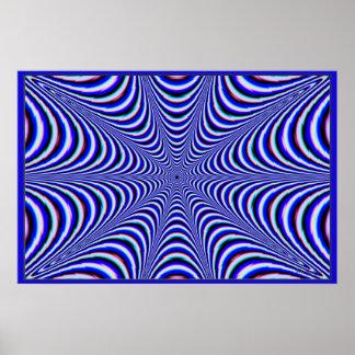 Colores vibrantes azules frenéticos poster