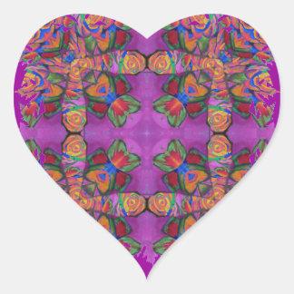 Colores vibrantes de los rosas de la cruz elaborad calcomanía de corazón