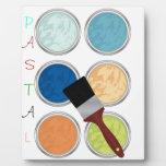 Colores y brocha de agua placas con foto