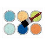 Colores y brocha de agua postal