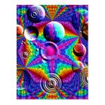 Colores y burbujas caleidoscópicos postal