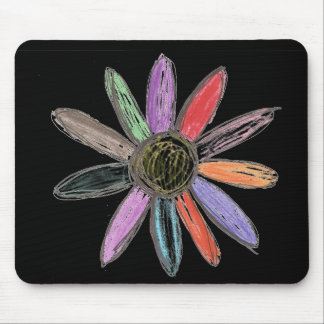 Colorflower Black Mouse Pad