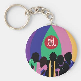Colorful 嵐 basic round button keychain