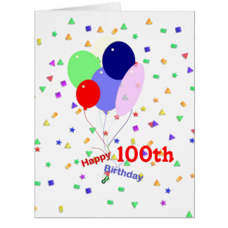 Colorful 100th Birthday Balloons Large Greeting Card