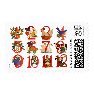 Colorful 12 Days Stamp $0.47 (1st Class 1oz)