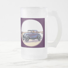 Colorful 1920s Vintage Automobile Drinks Glass Frosted Glass Beer Mug at Zazzle