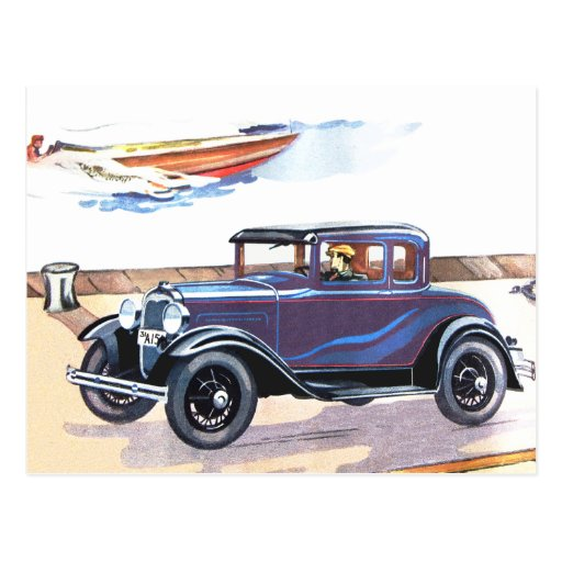 Colorful 1920s Vintage Automobile In Blue Postcard