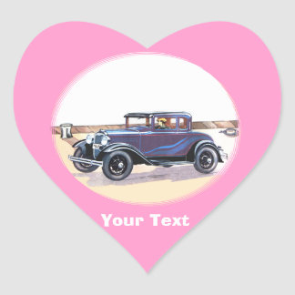 Colorful 1920s Vintage Automobile In Blue Heart Sticker