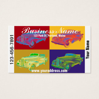 Colorful 1938 Cadillac Lasalle Pop Art Business Card