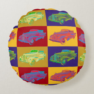 Colorful 1938 Cadillac Lasalle Pop Art Round Pillow