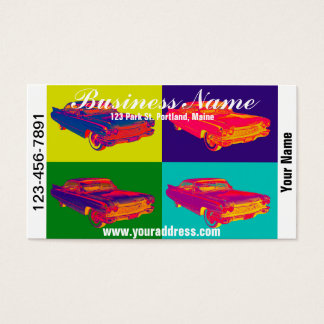 Colorful 1960 Cadillac Luxury Car Pop Art Business Card
