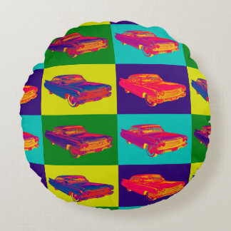 Colorful 1960 Cadillac Luxury Car Pop Art Round Pillow